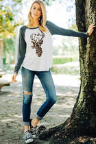 Oh Leopard Reindeer Grey Long Sleeve Raglan Baseball Top 3