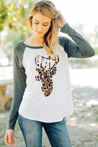 Oh Leopard Reindeer Grey Long Sleeve Raglan Baseball Top 1