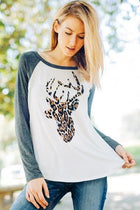 Oh Leopard Reindeer Grey Long Sleeve Raglan Baseball Top 4