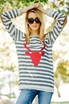 Oh Red Reindeer Grey Stripe Long Sleeve Sweater Top 3