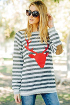 Oh Red Reindeer Grey Stripe Long Sleeve Sweater Top 1