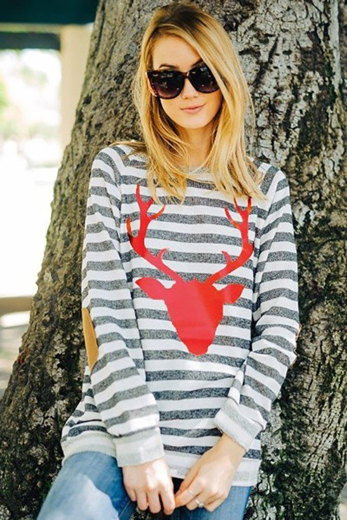 Oh Red Reindeer Grey Stripe Long Sleeve Sweater Top 4