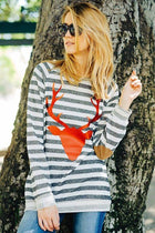 Oh Red Reindeer Grey Stripe Long Sleeve Sweater Top 2