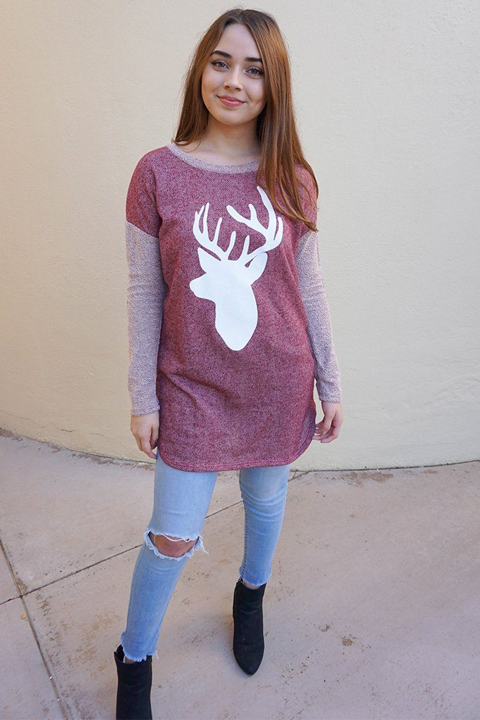 Oh Reindeer Burgundy Long Sleeve Sweater Top 4