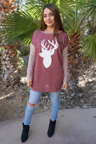 Oh Reindeer Burgundy Long Sleeve Sweater Top 3