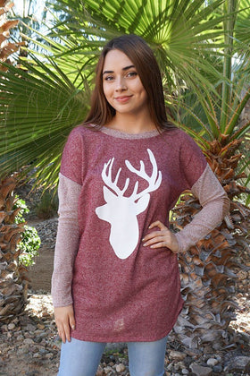 Oh Reindeer Burgundy Long Sleeve Sweater Top 1
