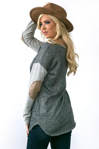 Oh Reindeer Charcoal Grey Long Sleeve Sweater Top 2