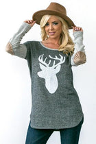 Oh Reindeer Charcoal Grey Long Sleeve Sweater Top 1