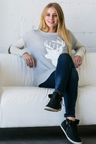 Oh Reindeer Heather Grey Long Sleeve Sweater Top 3