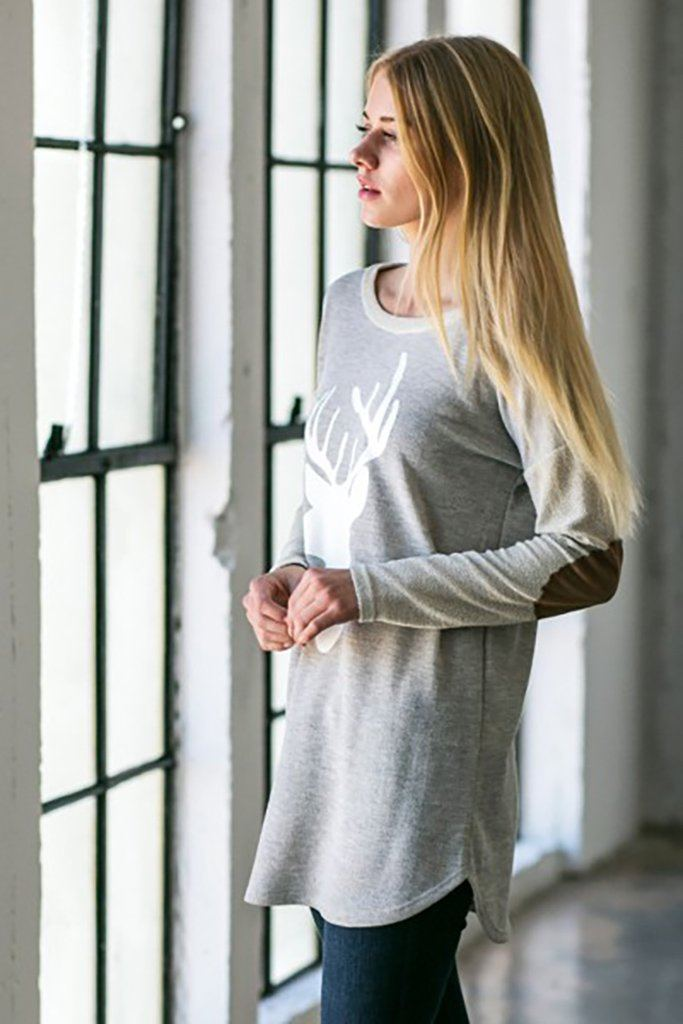 Oh Reindeer Heather Grey Long Sleeve Sweater Top 2