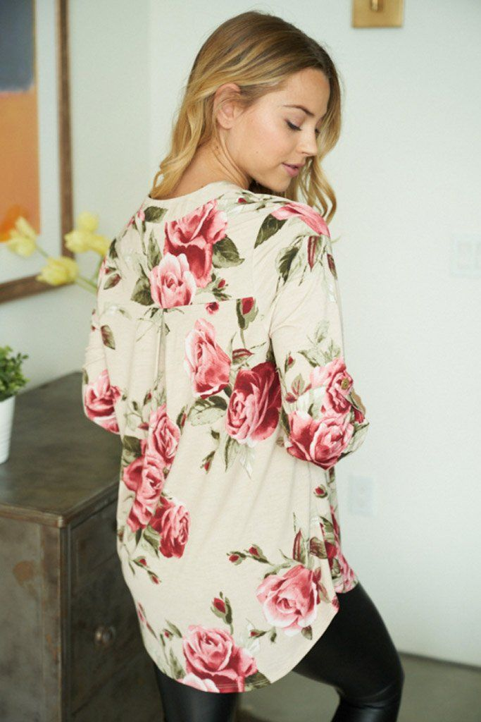 Oh So Sweet Taupe Floral Print Button Up Top 2