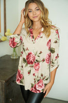Oh So Sweet Taupe Floral Print Button Up Top 1