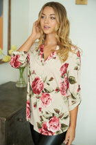 Oh So Sweet Taupe Floral Print Button Up Top 4