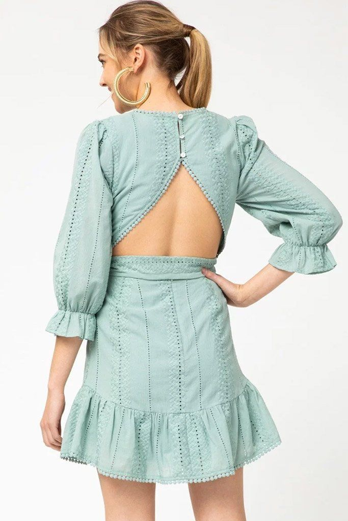 2 On That Note Sage Green Eyelet Lace Dress at ledyzfashions.com
