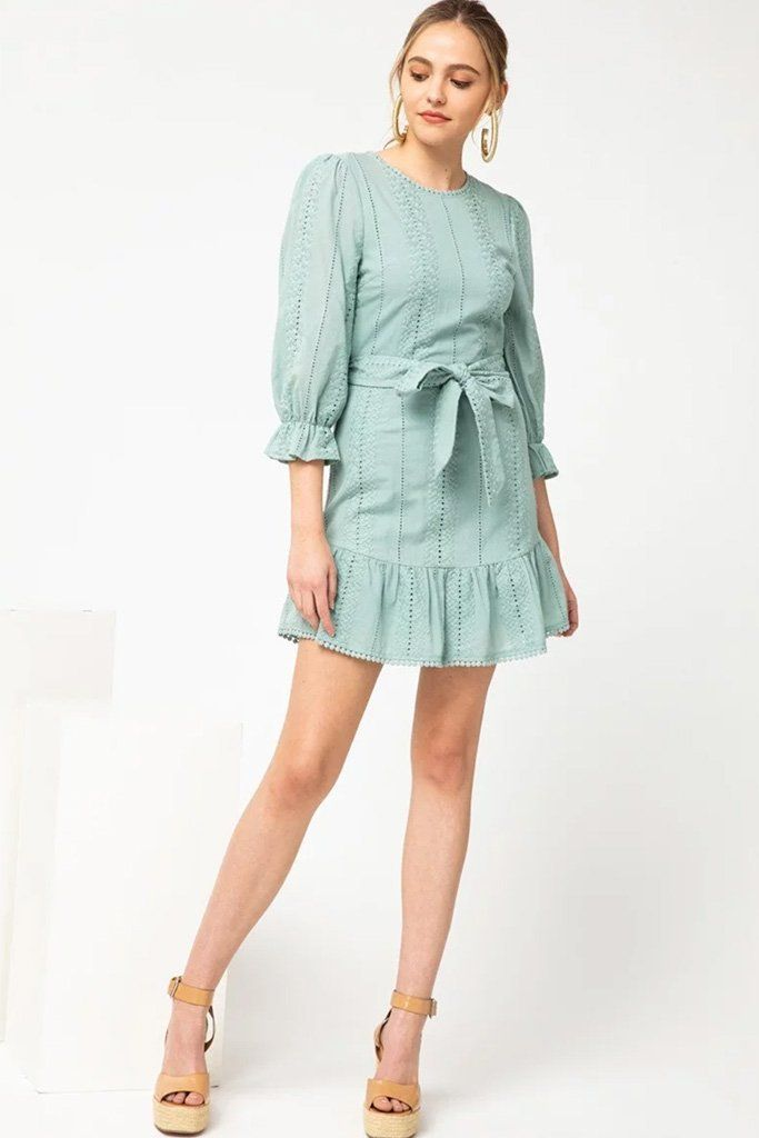 3 On That Note Sage Green Eyelet Lace Dress at ledyzfashions.com