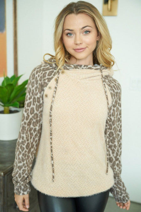 On The Wild Side Taupe Brown Leopard Print Hoodie 1
