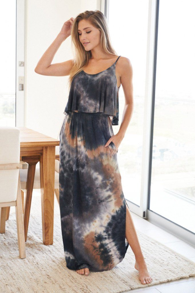 Once You Know Blue Multi Tie Dye Maxi Dress 3