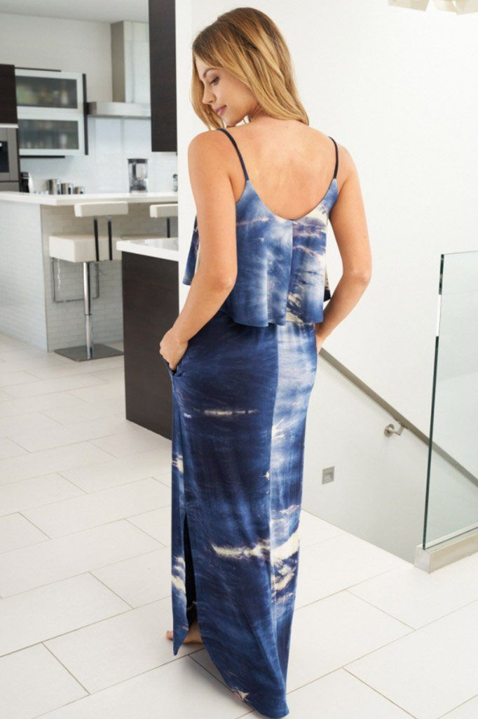 Once You Know Navy Blue Tie Dye Dress 2