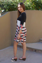 One Sweet Day Black And White Floral Print Stripe Swing Dress 2