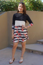 One Sweet Day Black And White Floral Print Stripe Swing Dress 4