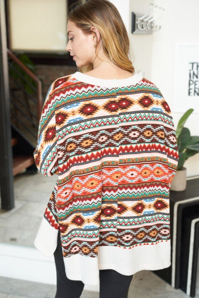 One Way Ticket Ivory Aztec Print Sweater 2