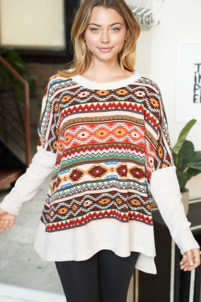 One Way Ticket Ivory Aztec Print Sweater 3
