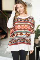 One Way Ticket Ivory Aztec Print Sweater 4