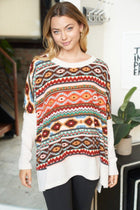 One Way Ticket Ivory Aztec Print Sweater 1