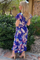 2 Only In Dreams Blue Floral Print High Low Wrap Dress at ledyzfashions.com