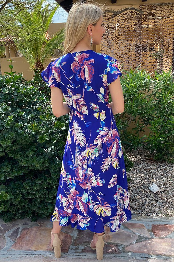 3 Only In Dreams Blue Floral Print High Low Wrap Dress at ledyzfashions.com
