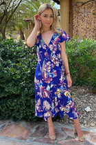 1 Only In Dreams Blue Floral Print High Low Wrap Dress at ledyzfashions.com