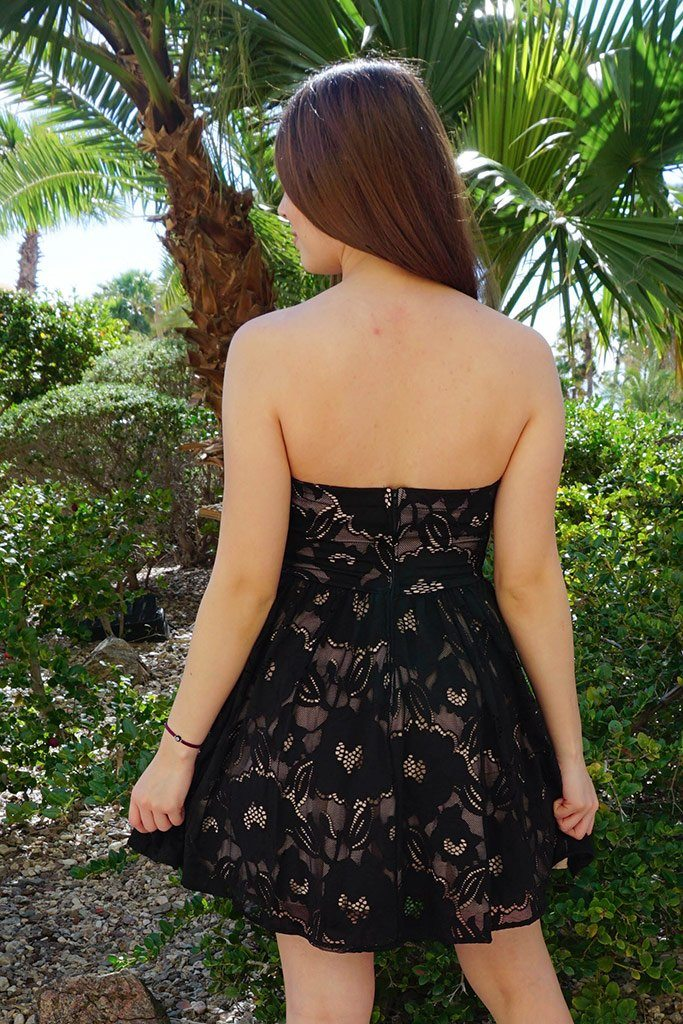 Own The Night Black Lace Strapless Skater Dress 3