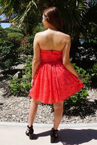 Own The Night Coral Pink Lace Strapless Skater Dress 3