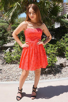 Own The Night Coral Pink Lace Strapless Skater Dress 4