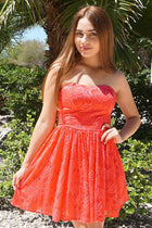Own The Night Coral Pink Lace Strapless Skater Dress 1