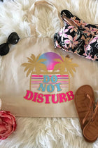 Palm Trees and Do Not Disturb Printed Natural Canvas Tote Bag 1