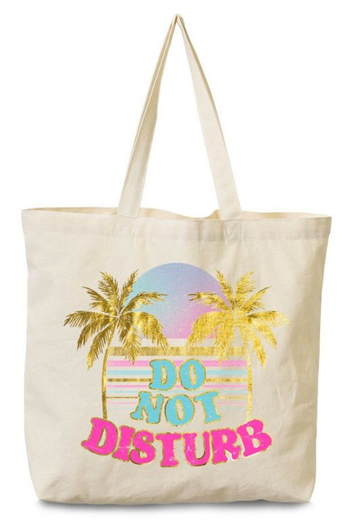 Palm Trees and Do Not Disturb Printed Natural Canvas Tote Bag 4