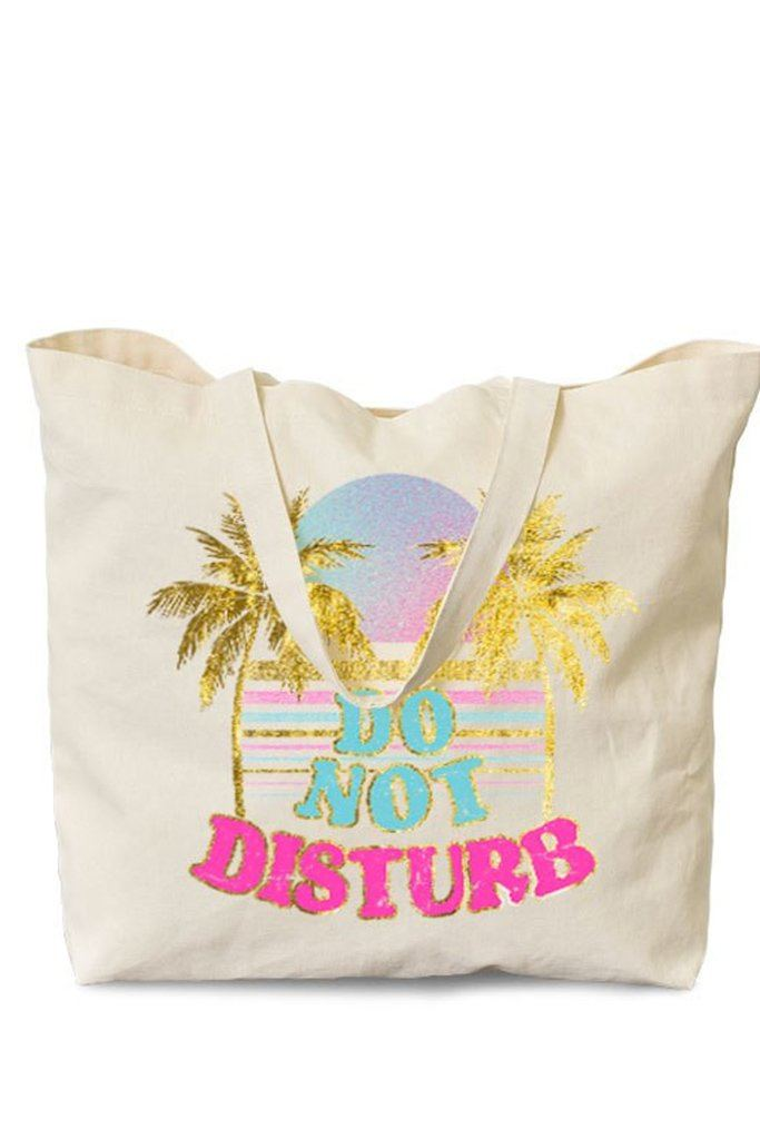 Palm Trees and Do Not Disturb Printed Natural Canvas Tote Bag 5