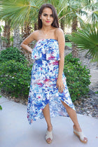 Paradise Island White Tropical Print Strapless High Low Maxi Dress 1