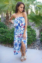 Paradise Island White Tropical Print Strapless High Low Maxi Dress 4