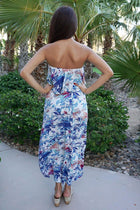 Paradise Island White Tropical Print Strapless High Low Maxi Dress 3