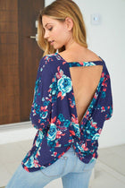 Party In The Hills Blue Floral Print Twist Top 1