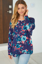 Party In The Hills Blue Floral Print Twist Top 4