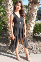 Perfect Evening Black Lace High Low Maxi Dress 4