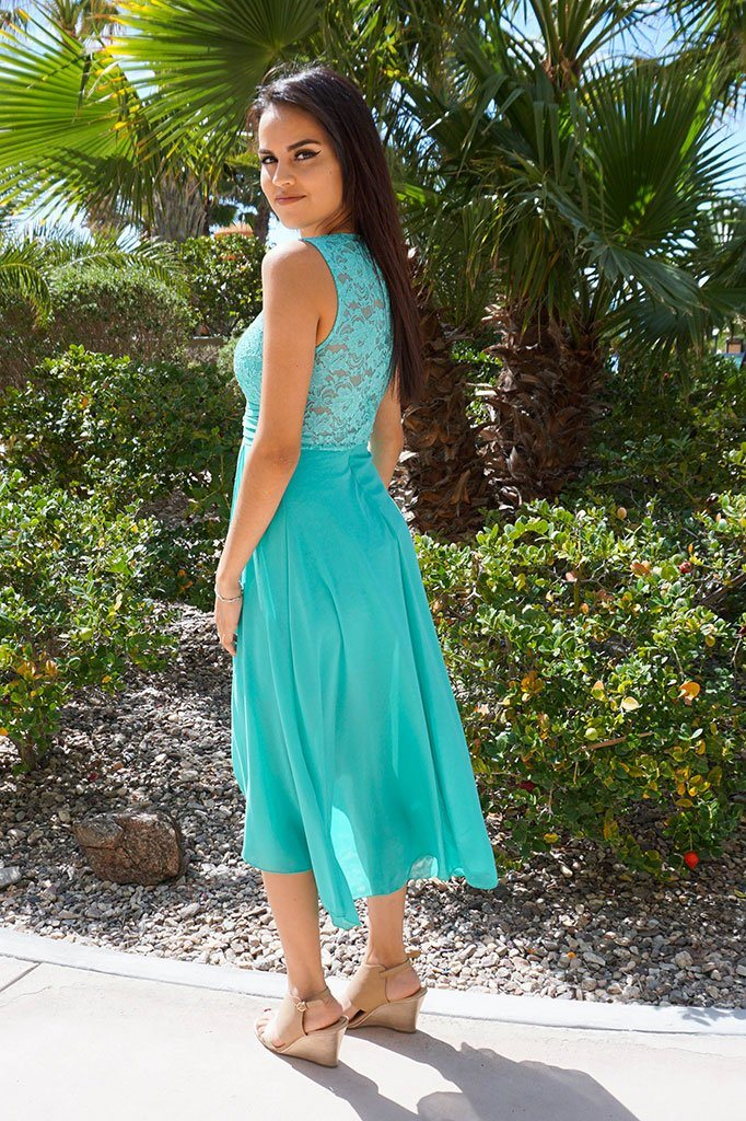 Perfect Evening Mint Lace Chiffon High Low Maxi Dress 3