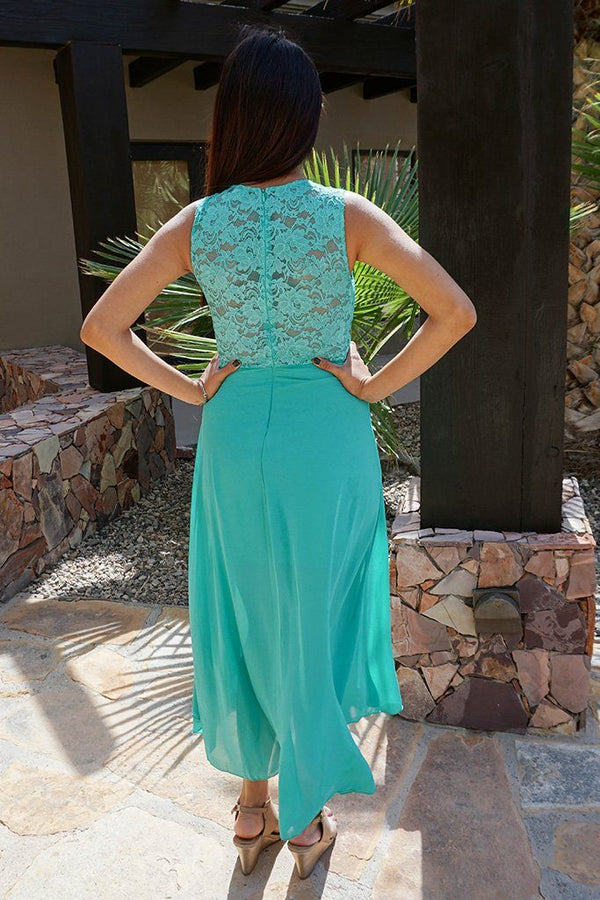 Perfect Evening Mint Lace Chiffon High Low Maxi Dress 4