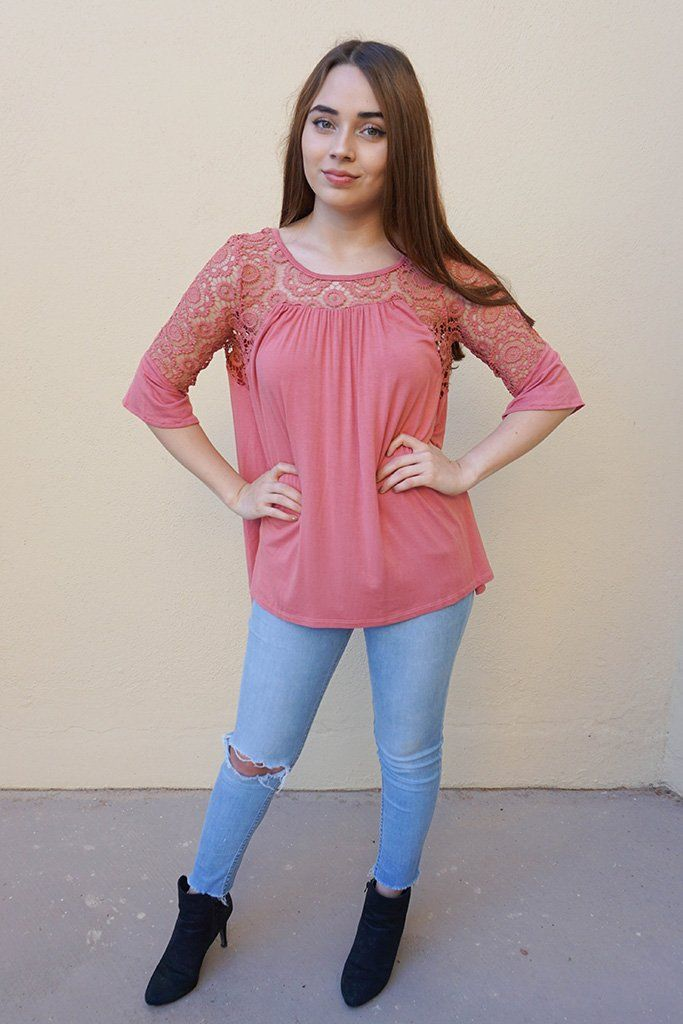 Picture This Mauve Pink Flounce Long Sleeve Lace Top 4