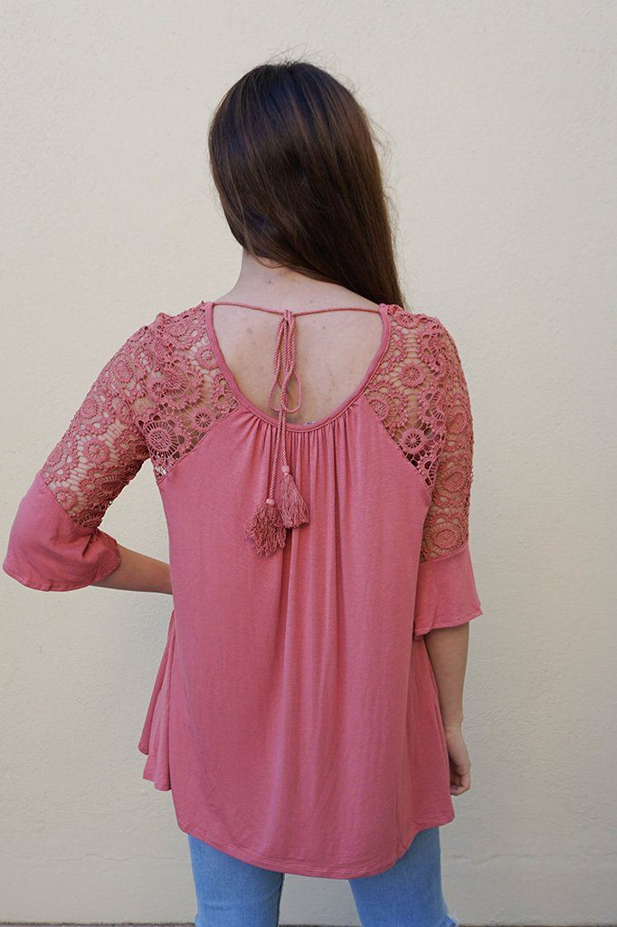 Picture This Mauve Pink Flounce Long Sleeve Lace Top 3