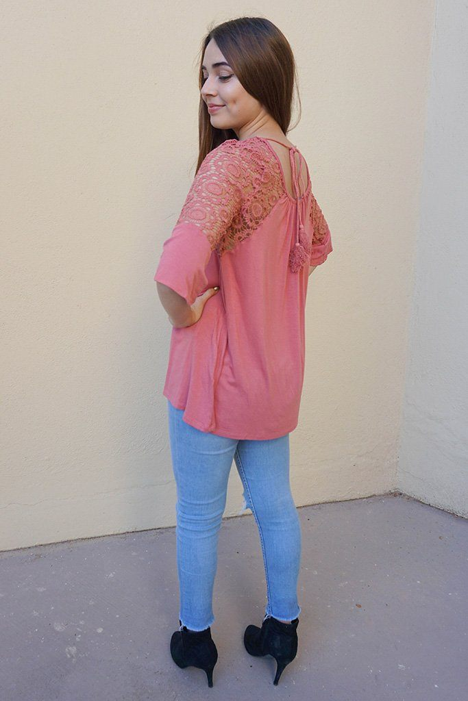 Picture This Mauve Pink Flounce Long Sleeve Lace Top 2