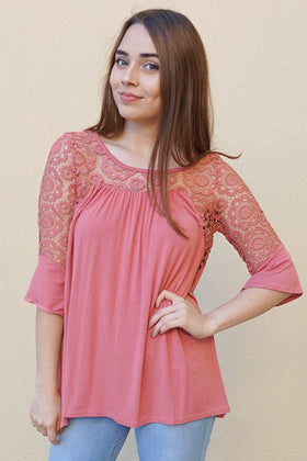 Picture This Mauve Pink Flounce Long Sleeve Lace Top 1